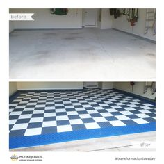 Before and after Swisstrax garage flooring from Monkey Bar Storage