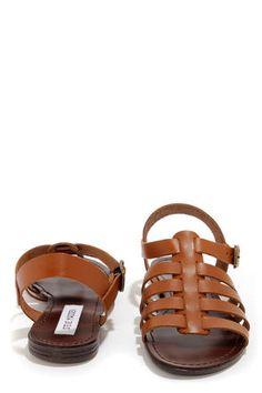 Steve Madden Alter Cognac Leather Gladiator Sandals