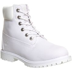 Timberland Premium 6 Boots ($94) ❤ liked on Polyvore featuring shoes, boots, ankle booties, timberlands, footwear, ankle boots, white canvas, women, waterproof ankle boots and white ankle boots