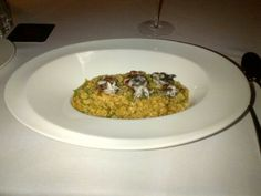 Rice with baby calamari with stripes of sugar pea @ Restaurant La Cuina del DO