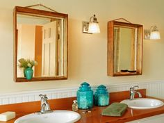 DIY Network has instructions for turning shallow wooden boxes into vanity mirror frames.