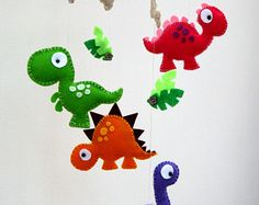 Dinosaur Felt Mobile – Baby mobile – Childrens mobile – Mult… – About Home Decor Baby Crafts, Felt Crafts, Diy And Crafts, Sewing Projects, Craft Projects, Projects To Try, Felt Toys, Felt Art, Felt Ornaments