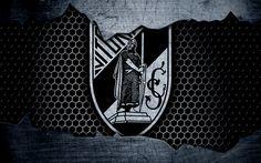 Download imagens Vitoria Guimaraes, 4k, logo, Primeira Liga, futebol, clube de futebol, Portugal, Guimaraes, grunge, textura de metal, Vitoria Guimaraes FC