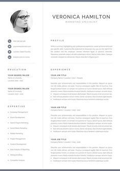 Professional CV template with photo. Includes one-page and two-page CV templates with cover letter and references in matching designs. Power up your CV with an effective design and land the interview you want. One Page Resume Template, Modern Resume Template, Creative Resume Templates, Creative Cv, Best Resume, Resume Tips, Resume Ideas, Job Resume, Cover Letter For Resume