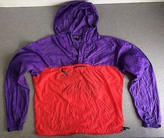PATAGONIA Jacket Wind Breaker Nylon Hooded Men's Large Packable Excellent Bright