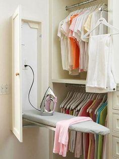 Built-In Ironing Board cabinet in laundry room or master closet Master Bedroom Closet, Budget Bedroom, Diy Bedroom, Design Bedroom, Bathroom Closet, Bedroom Small, Trendy Bedroom, Closet Rooms, Small Master Closet