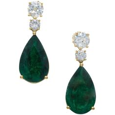 Important Pear-Shaped Emerald, Old European Cut Diamond Gold Earrings (6.144.230 RUB) ❤ liked on Polyvore featuring jewelry, earrings, gold jewellery, gold dangle earrings, emerald earrings, yellow gold earrings and gold emerald earrings