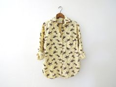 Cowboy Patterned Button Down Blouse