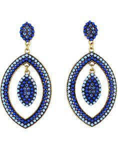 Blue Bead Gold Eye Earrings 7.60