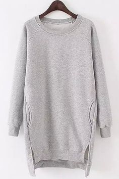 Side Slit Pocket Design Long Sweatshirt GRAY: Sweatshirts | ZAFUL