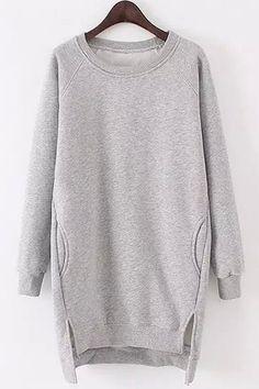 Side Slit Pocket Design Long Sweatshirt Source by cortitado Sweatshirts Sweatshirts Online, Hooded Sweatshirts, Oversized Pullover, Sport Outfit, Mode Streetwear, Mode Hijab, Sweatshirt Dress, Grey Sweatshirt, Long Sweaters