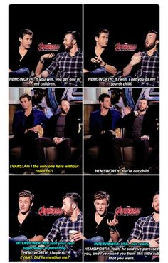 Hemsworth being the ultimate dad of the team. Small wonder they started fighting the minute he turned his back.
