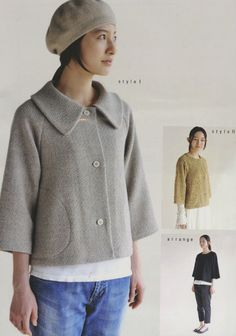 purl soho | products | item | women's cropped sleeve jacket - m134 (m patterns)