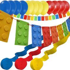 LEGO Banner, Balloon, Streamer Party Decoration Set #LegoParty #LegoBirthday