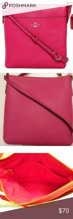Coach NEW crossbody NWOT, Never used, Coach North/South swingpack embossed textured leather bag in Pink Ruby, Gold hardware,  STYLE NO. 52348  💕Beautiful liteweight, crossbody messenger bag💕 She's a beauty 🌸 Great Price 😉 Coach Bags Crossbody Bags