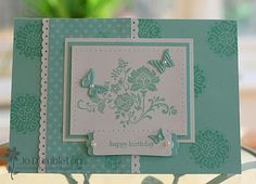 Stampin Up: Fresh Vintage. LOVE this card! Stamped background is lovely!