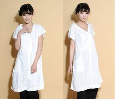Pleated  Asymmetrical Linen Dress