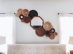 Vintage Basket Wall Hanging Collage Gallery - Farmhouse Boho Style - Set of 12 Baskets & 3 Mirrors - Golden Blonde, Mahogany tones - Vintage Basket Wall Hanging Collage Gallery Farmhouse Boho Do It Yourself Inspiration, Room Inspiration, Cheap Home Decor, Diy Home Decor, Diy Hack, Vintage Baskets, Boho Living Room, Basket Decoration, Baskets On Wall