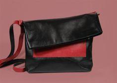 "Leather Cross Body ""Ursula BR"", Leather Crossbody Bag with Zipper, Cross Body Purse, Minimalist Bag, Black and Red Crossbody Handbag"