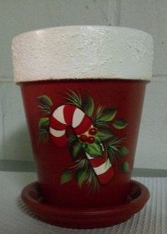 Hand painted candy cane clay pot on Etsy