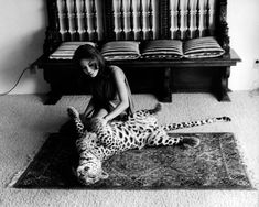 Natalie Wood's younger sister LANA with a leopard for a 1969 issue of Italian magazine ''Playmen''