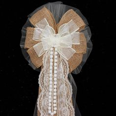 Burlap and Lace Pearls Ivory Wire Edge by PackagePerfectBows