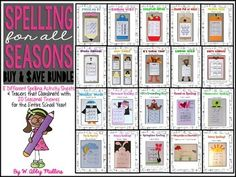 $$$ Save $4 by Purchasing this Bundle $$$This zip file contains both Spelling for All Seasons Part One and Spelling for All Seasons Part Two. You can click on either hyperlink to see the preview associated with each resource. By purchasing this bundle, you will receive 20 different seasonal spelling craftivities/tracers, along with 8 different corresponding activity sheets.