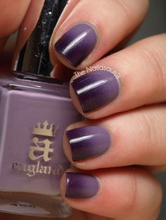 Gradient Nails using A-England Guinevere and Revlon Plum Night. Uk Nails, Love Nails, How To Do Nails, Hair And Nails, Nails 2018, Purple Ombre Nails, Gradient Nails, Gradation Nail, Black Ombre