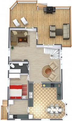Do you think so too? Lovely example of using brand named furniture & decor in our business edition floorplanner!  Ashley Furniture HomeStore, Pier 1 Imports, Crate and Barrel:  http://www.roomsketcher.com/features/homedesigner/  3D floor plan of multi-level home with open spaces, tile & hardwood flooring, and large deck with BBQ grill designed in RoomSketcher Business Edition by nonparel  #floorplanner #floorplan #BBQ #furniture #decor