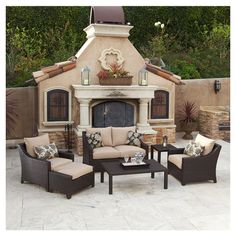 Eco-friendly outdoor seating group with olefin cushions. Includes one loveseat, two club chairs, one side table, one ottoman, and one coffee table. ...