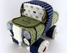 Truck Diaper Cake - Baby Boy Diaper Cake - Unique Diaper Cake - Baby Shower Gift or Centerpiece - OOAK Gift Ideas - Diaper Cake for Boys