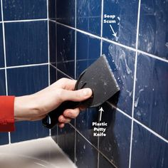 Remove Bathroom Soap Scum – Soap has a nasty way of forming a hard-to-remove film on tile in tubs and showers. You won't get rid of it by . Diy Home Cleaning, Household Cleaning Tips, House Cleaning Tips, Diy Cleaning Products, Cleaning Hacks, Cleaning Recipes, Hacks Diy, Bathroom Cleaning, Deep Cleaning