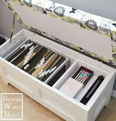 Swap file cabinets (read: total eyesores) out for a white bench with a pretty floral cushion on top. Just add file folders to keep your most valuable papers out of sight. Get the tutorial at Better When Built »