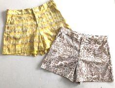 "2 Calvin Klein Women's ""Dressy"" SHORTS Size 8 Animal Print Exotic Yellow / Tan + #eBayDanna"