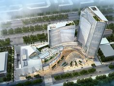 Regal Emporia in Greater Noida - e-architect This mixed-use development in Greater Noida Extension will act as a commercial hub for the developing region. Five levels of retail and a green terraced roof form a shopping and entertainment platform directly Mix Use Building, Building Concept, Tower Building, High Rise Building, Green Building, Building Design, Shopping Mall Architecture, Retail Architecture, Architecture Images