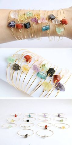 These stackable raw crystal bracelets. Crystal Bracelets, Crystal Jewelry, Gemstone Jewelry, Bead Jewelry, Silver Jewelry, Small Intimate Wedding, Intimate Weddings, Small Weddings, Cluster Ring