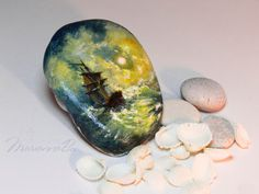 """Men gift Desk accessories Painted rock Miniature copy of a picture """"Storm at the sea at night"""" Ayvazovsky Door Crafts, Artist And Craftsman, Painted Stones, Art Lesson Plans, Desk Accessories, Family Gifts, Stone Art, Stone Painting, Cozy House"""