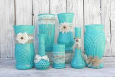 Burlap and Lace Rustic set of Turquoise Vases, Vase Collection for Weddings, Showers, Receptions, Parties on Etsy, $95.00