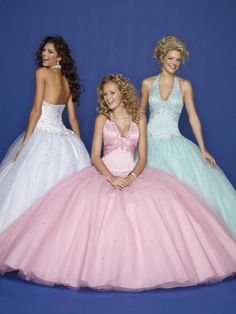 Go back to the 50's with these halter neck/sweetheart dresses. Curl your hair for full 50's impact!