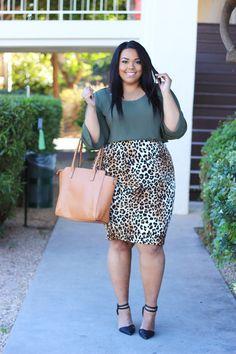 Plus Size Leopard Skirt