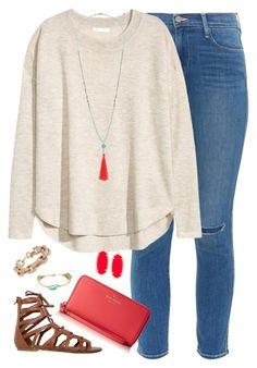 """❊ beautiful minds inspire others. ❊"" by kaley-ii ❤ liked on Polyvore featuring Frame Denim, H&M, Wallis, O'Neill, Kate Spade, Bourbon and Boweties, J.Crew and Kendra Scott"