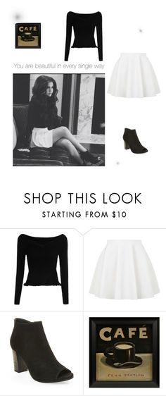 """Maia Mitchell in black and white"" by peacekelli ❤ liked on Polyvore featuring Topshop and Steve Madden"
