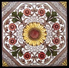 Victorian Brown Transferware Tile ~ SUNFLOWER 1885