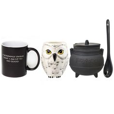 """Buy three fan-favorite Harry Potter mugs and save! This mug set is perfect for any muggle or a wizard and consist of our exclusive Mischief Managed transforming mug (add hot water and the text changes from """"I Solemnly Swear the I am up to No Good"""" to Mischief Managed""""), the Hedwig scultped mug, and the cauldron sculpted soup mug (complete with spoon and lid). This magical set will have you brewing up your favorite magical potions, concoctions, and elixirs, and when you're d..."""