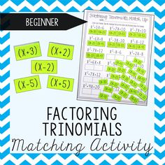 This Factoring Trinomials Activity would be so perfect for my Algebra students!  I love how they get to cut & paste the binomials next to the trinomial they form.  I love every activity this person creates!