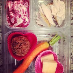 School lunch: @stonyfield plain Greek #yogurt with #homemade berry sauce, #organic roasted chicken, #zucchini chocolate chip mini #muffin, #carrot stick and #kerrygold cheese. #schoollunch #healthytips
