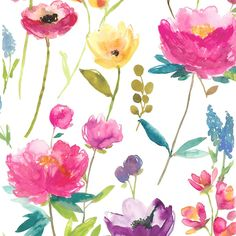 Flower Field (Set of 2 Rolls) Multi wallpaper by bluebellgray