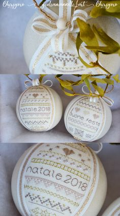 Xmas Ornaments, Christmas Decorations, Color Oro, Diy And Crafts, Arts And Crafts, Cross Stitch Finishing, Christmas Balls, Bambi, Cross Stitching