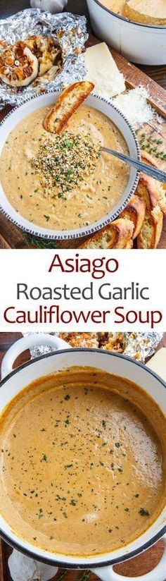 Asiago Roasted Garlic Cauliflower Soup - This is a super simple soup where you roast up the cauliflower and a few heads of garlic and make a soup with them along with plenty of melted asiago cheese! O (Soup And Sandwich Recipes) New Recipes, Vegetarian Recipes, Dinner Recipes, Cooking Recipes, Healthy Recipes, Recipies, Vegetarian Stew, Vegan Meals, Garlic Recipes