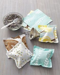 Scented Sachets. Place these scented sachets in a drawer to keep linens fresh or under a pillow for sweet dreams. See how to do it